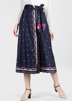 Темно-синяя юбка Temperley London с вышивкой-узором, фото