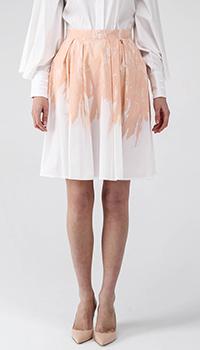 Юбка с высокой талией Elisabetta Franchi бежевая с белым, фото