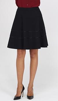 Черная юбка-клеш Armani Jeans с отделкой лентами, фото