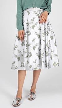 Пышная юбка-миди Cavalli Class белая с цветочным принтом, фото