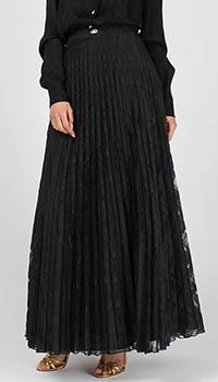 Плиссированная кружевная юбка Cavalli Class черного цвета, фото