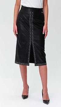 Черная юбка Twin-Set с высокой талией из экокожи, фото