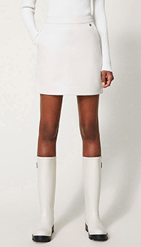 Белая юбка-мини Twin-Set из искусственной кожи, фото