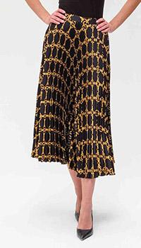 Плиссированная юбка Twin-Set черного цвета с узором, фото