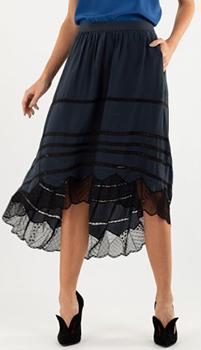 Темно-синяя юбка Zadig & Voltaire с кружевными вставками, фото