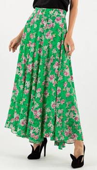 Зеленая юбка Zadig & Voltaire с принтом в виде роз, фото