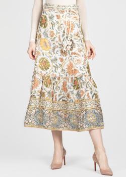 Льняная юбка-миди Zimmermann с цветочным принтом, фото