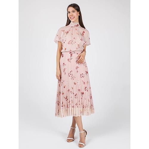 af41d5c683b Плиссированная юбка Red Valentino розового цвета с бежевым кружевом