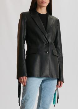 Кожаный пиджак Off-White черного цвета, фото