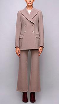 Бежевый двубортный пиджак Shako с широкими лацканами, фото