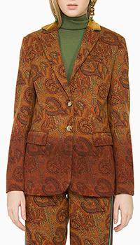 Коричневый женский пиджак Etro с длинным рукавом, фото