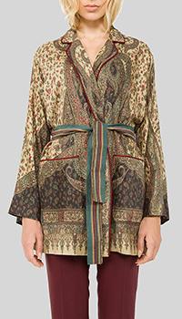 Коричневый пиджак Etro на запах, фото
