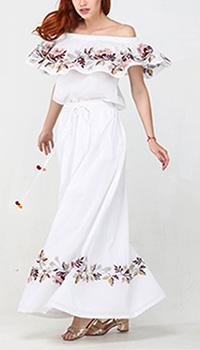 Костюм с длинной юбкой Emma&Gaia белый с вышивкой, фото