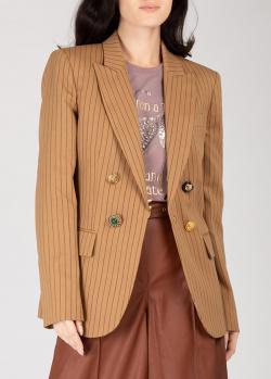 Коричневый пиджак Pinko в полоску, фото