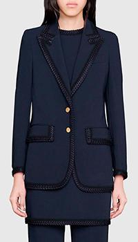 Однобортный пиджак Gucci Cruise 2020 синего цвета, фото