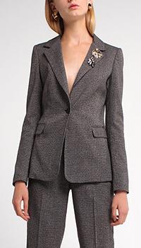 Пиджак Liu Jo серый с декором-камнями, фото