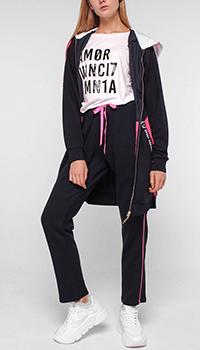 Черный спортивный костюм Liu Jo с розовыми вставками, фото