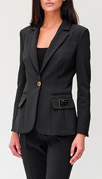 Черный пиджак Elisabetta Franchi на одну пуговицу, фото