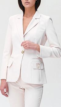 Приталенный пиджак Elisabetta Franchi белого цвета, фото