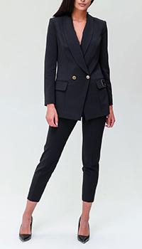 Черный брючный костюм Elisabetta Franchi с логотипом, фото