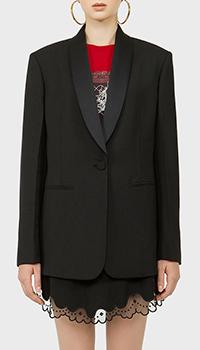 Длинный пиджак N21 черного цвета на пуговице, фото