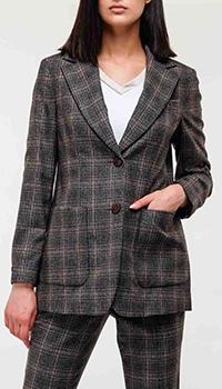 Коричневый пиджак Peserico в клетку, фото