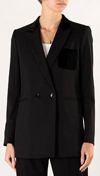 Черный пиджак Sandro с бархатным карманом, фото