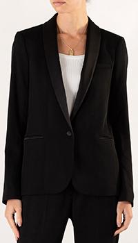 Черный пиджак Sandro с атласным воротником, фото