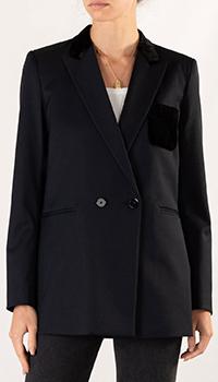 Темно-синий пиджак Sandro с велюровыми вставками, фото