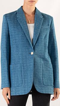 Синий пиджак Sandro с жаккардовым узором, фото