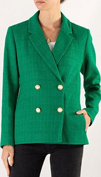 Твидовый пиджак Sandro зеленого цвета, фото