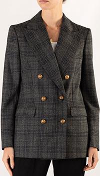 Клетчатый пиджак Sandro серого цвета, фото