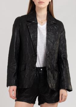 Черный пиджак Zadig & Voltaire из жатой кожи, фото