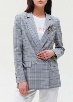Серый клетчатый пиджак Twin-Set с брошью, фото