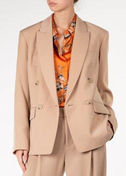 Двубортный пиджак Vince бежевого цвета, фото
