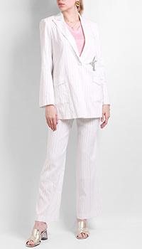 Льняной белый костюм Max&Moi в полоску, фото