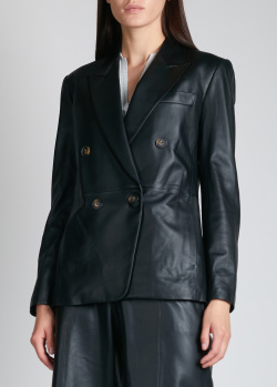 Кожаный пиджак Vince черного цвета, фото