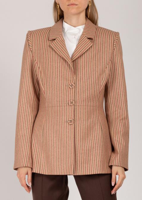 Бежевый пиджак Iva Nerolli в полоску, фото