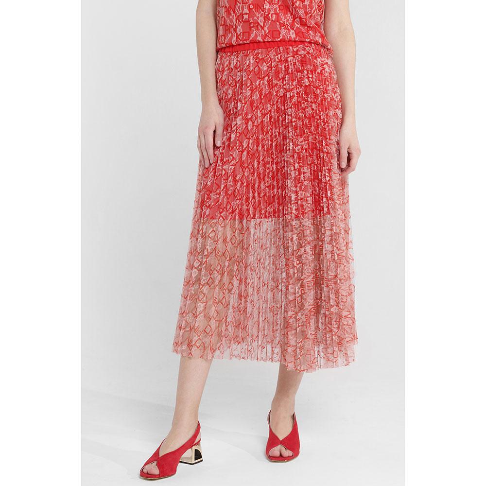 Красный костюм Pinko с пышной юбкой