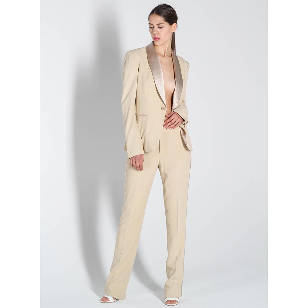 Бежевый пиджак Polo Ralph Lauren с шелковыми лацканами