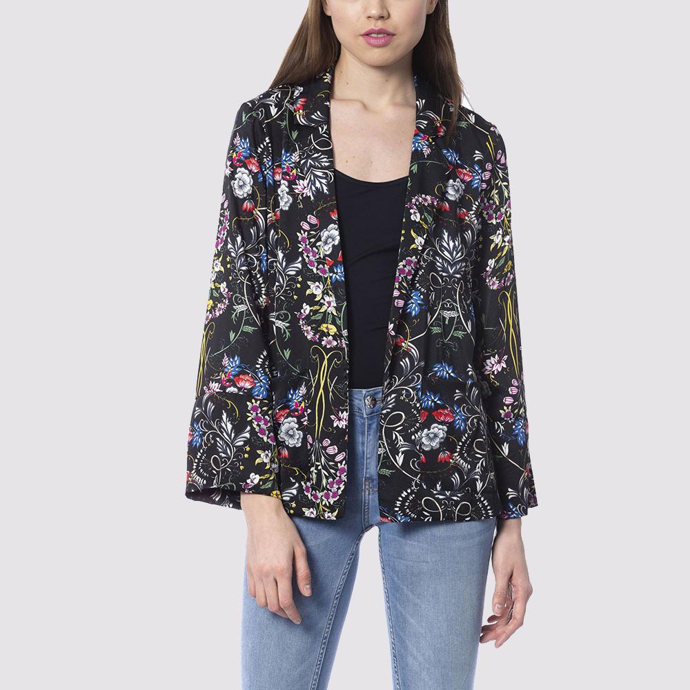 Черный пиджак Silvian Heach с цветочным принтом