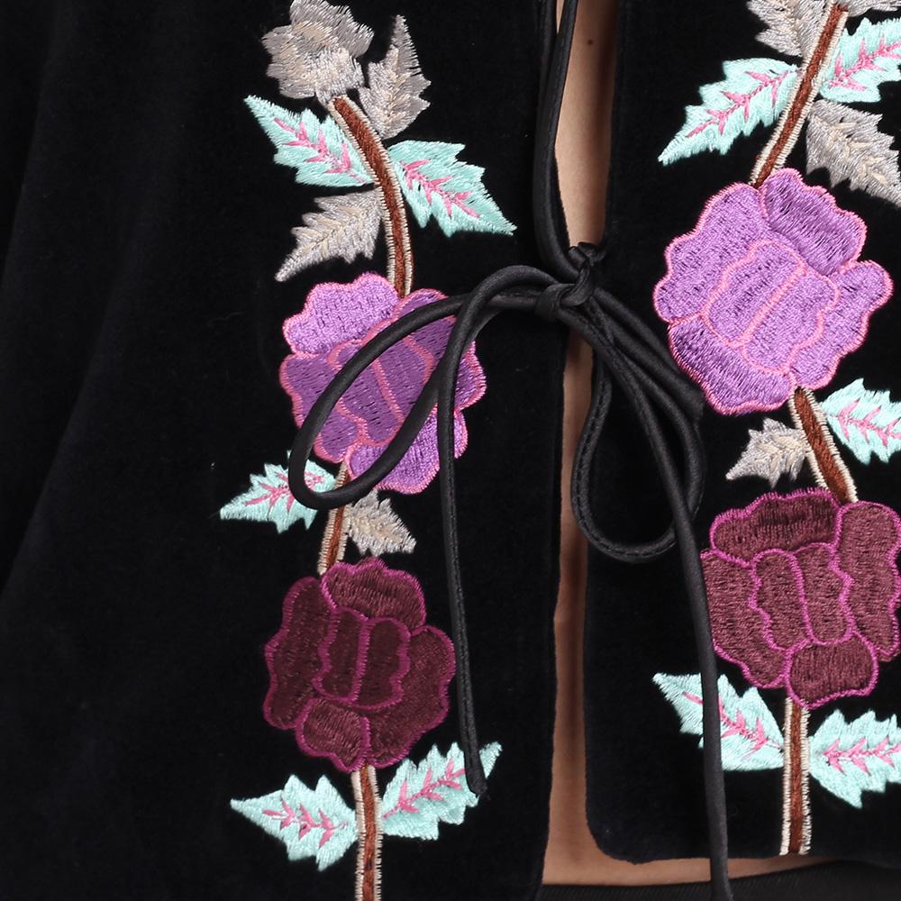 Велюровый жакет Blugirl Blumarine черного цвета на завязках с вышивкой