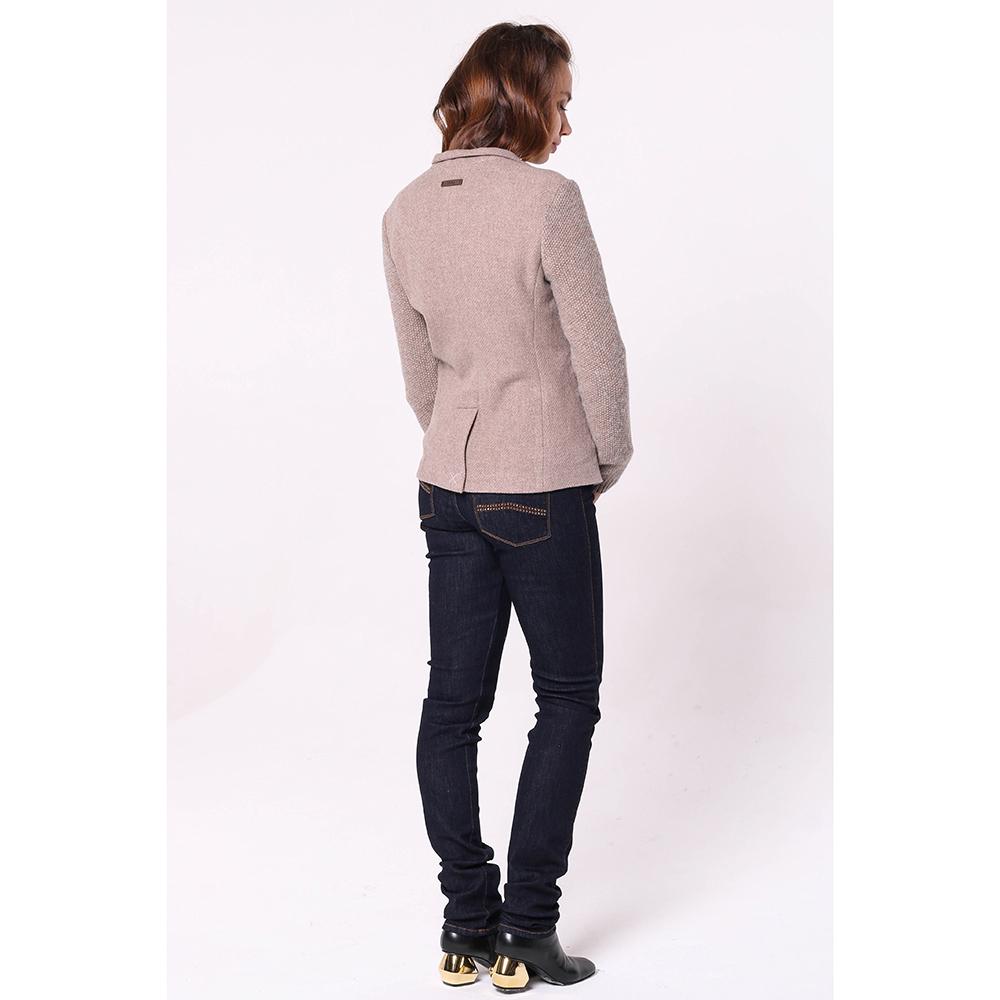 Бежевый пиджак Peserico с вязаными рукавами