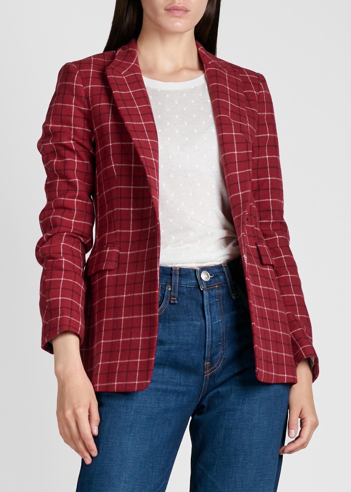 Пиджак в клетку Rag & Bone красного цвета