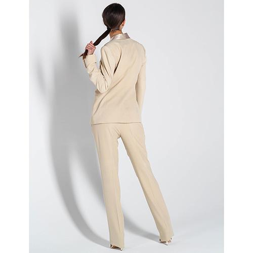 Бежевый пиджак Polo Ralph Lauren с шелковыми лацканами, фото