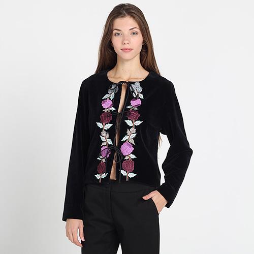 Велюровый жакет Blugirl Blumarine черного цвета на завязках с вышивкой, фото
