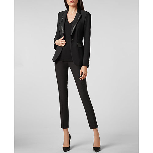 Приталенный пиджак Philipp Plein черного цвета, фото