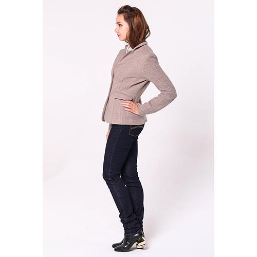 Бежевый пиджак Peserico с вязаными рукавами, фото
