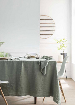 Льняная скатерть Degrenne Paris Linge de Table зеленого цвета, фото