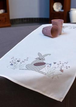 Раннер Villa Grazia Зайка с пасхальной вышивкой 40х110см, фото